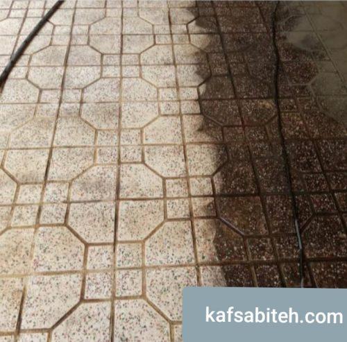 تمیز کردن سنگ کف توسط استادکار کفساب و ساب زن در تهران
