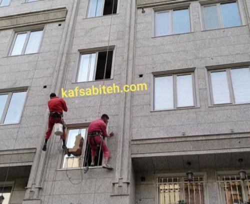 پیچ و مهره سنگ نمای ساختمان با طناب توسط شرکت پیچ و رولپلاک نما بهاری