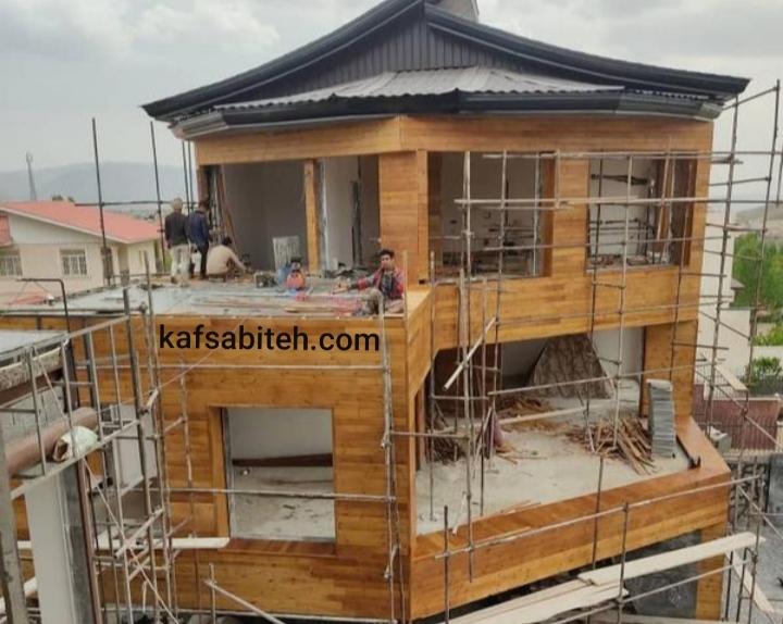 نصب چوب ترمو و رنگ آمیزی نمای چوبی